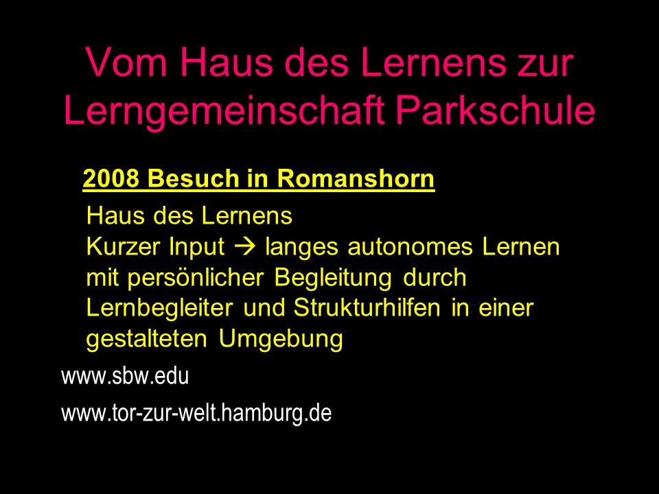 Vom Haus des Lernens zur Lerngemeinschaft Parkschule 2008 Besuch in Romanshorn Haus des Lernens Kurzer Input langes autonomes Lernen mit persönlicher