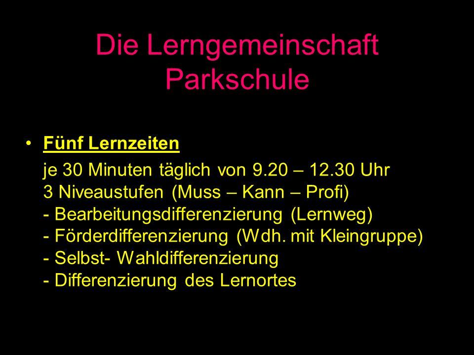 Die Lerngemeinschaft Parkschule Fünf Lernzeiten je 30 Minuten täglich von 9.20 – 12.30 Uhr 3 Niveaustufen (Muss – Kann – Profi) - Bearbeitungsdifferen