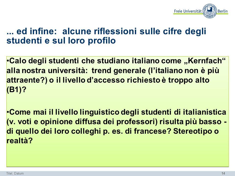 14... ed infine: alcune riflessioni sulle cifre degli studenti e sul loro profilo Calo degli studenti che studiano italiano come Kernfach alla nostra