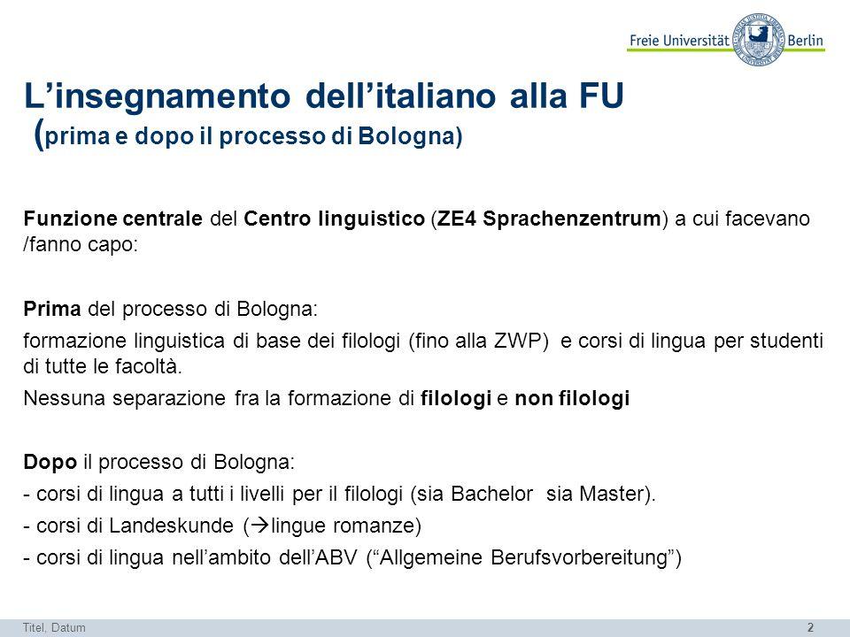 2 Linsegnamento dellitaliano alla FU ( prima e dopo il processo di Bologna) Funzione centrale del Centro linguistico (ZE4 Sprachenzentrum) a cui facevano /fanno capo: Prima del processo di Bologna: formazione linguistica di base dei filologi (fino alla ZWP) e corsi di lingua per studenti di tutte le facoltà.