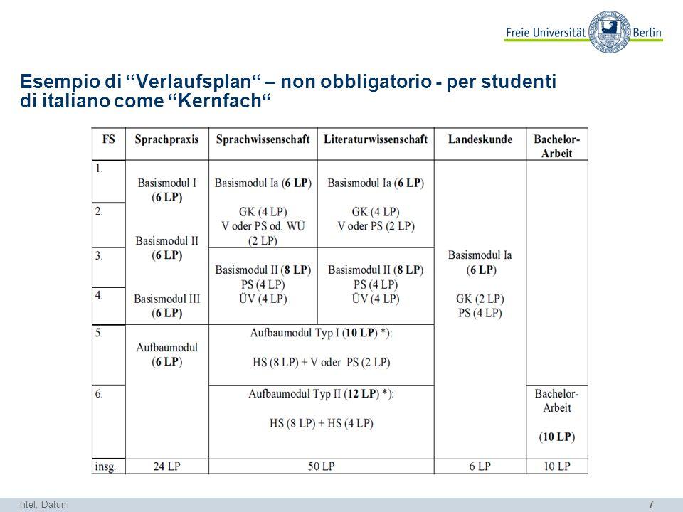 7 Esempio di Verlaufsplan – non obbligatorio - per studenti di italiano come Kernfach