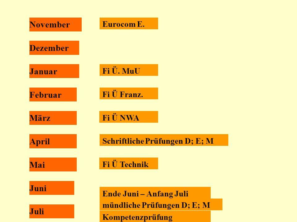 November Juli Juni Mai April März Februar Januar Dezember Eurocom E. Fi Ü. MuU Fi Ü Franz. Fi Ü NWA Fi Ü Technik Schriftliche Prüfungen D; E; M Ende J