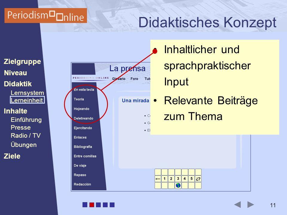 Periodismo Online Niveau Lernsystem Lerneinheit Inhalte Presse Radio / TV Ziele Einführung Didaktik Zielgruppe Übungen 11 Didaktisches Konzept Inhaltlicher und sprachpraktischer Input Relevante Beiträge zum Thema
