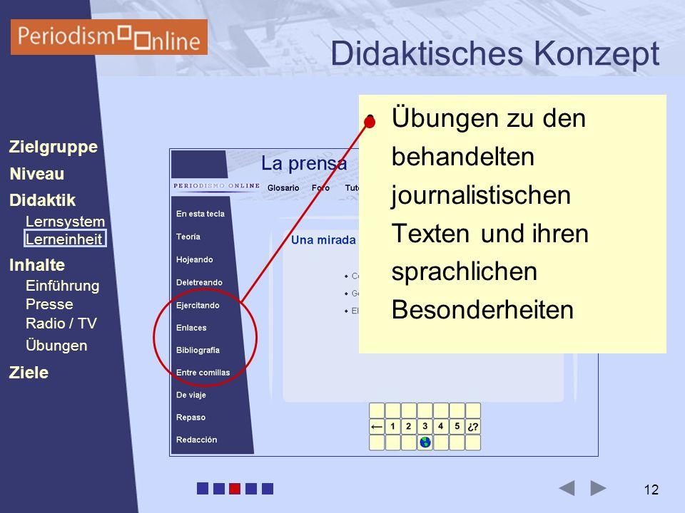 Periodismo Online Niveau Lernsystem Lerneinheit Inhalte Presse Radio / TV Ziele Einführung Didaktik Zielgruppe Übungen 12 Didaktisches Konzept Übungen zu den behandelten journalistischen Texten und ihren sprachlichen Besonderheiten