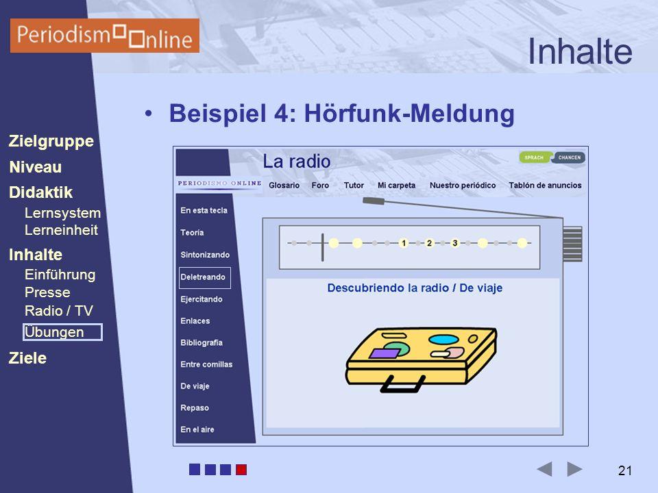 Periodismo Online Niveau Lernsystem Lerneinheit Inhalte Presse Radio / TV Ziele Einführung Didaktik Zielgruppe Übungen 21 Inhalte Beispiel 4: Hörfunk-Meldung
