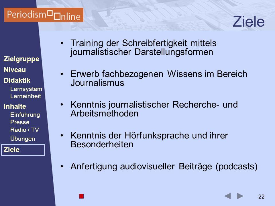 Periodismo Online Niveau Lernsystem Lerneinheit Inhalte Presse Radio / TV Ziele Einführung Didaktik Zielgruppe Übungen 22 Ziele Training der Schreibfe