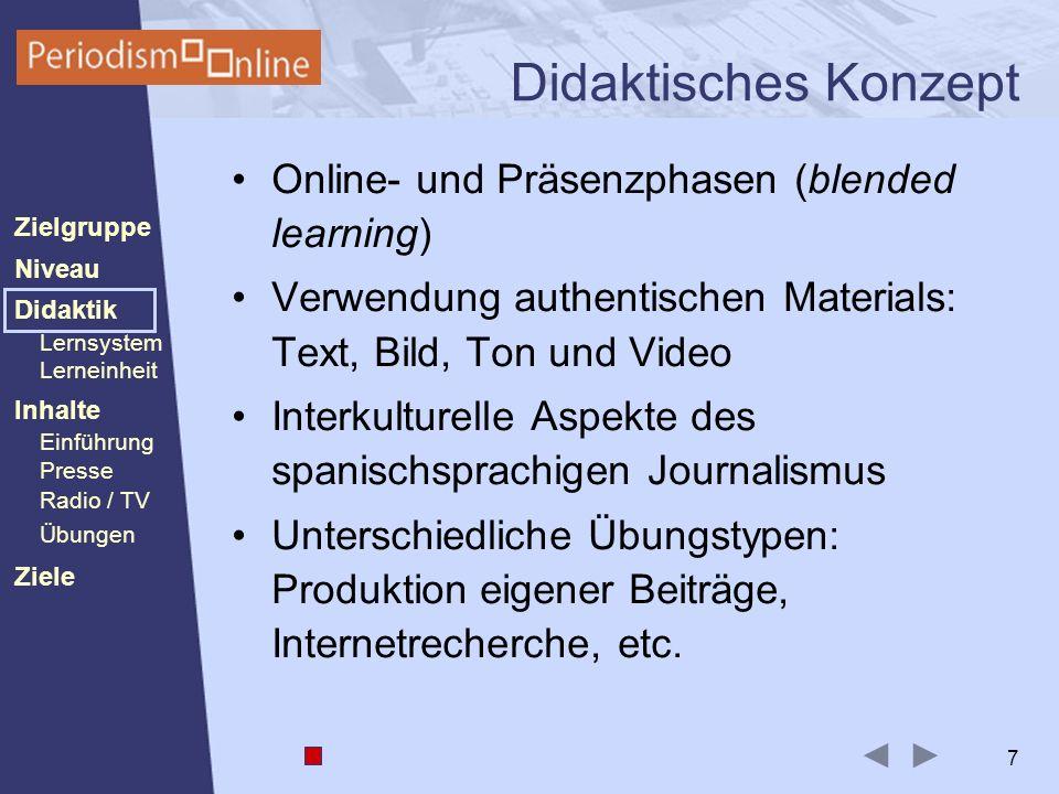 Periodismo Online Niveau Lernsystem Lerneinheit Inhalte Presse Radio / TV Ziele Einführung Didaktik Zielgruppe Übungen 7 Didaktisches Konzept Online-