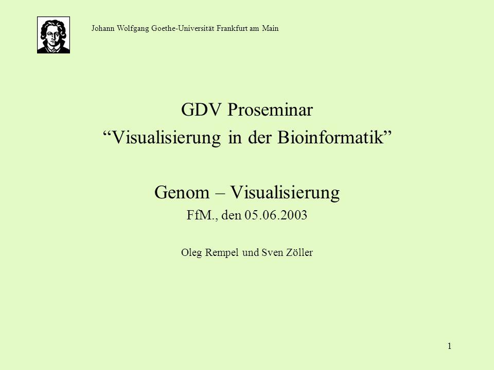 1 GDV Proseminar Visualisierung in der Bioinformatik Genom – Visualisierung FfM., den 05.06.2003 Oleg Rempel und Sven Zöller Johann Wolfgang Goethe-Un