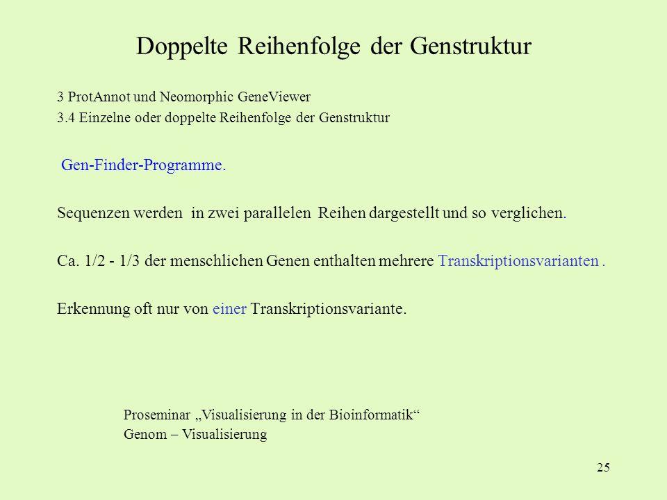 25 3 ProtAnnot und Neomorphic GeneViewer 3.4 Einzelne oder doppelte Reihenfolge der Genstruktur Gen-Finder-Programme. Sequenzen werden in zwei paralle
