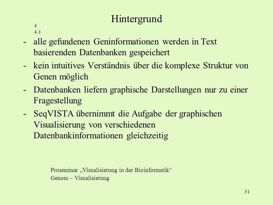 31 -alle gefundenen Geninformationen werden in Text basierenden Datenbanken gespeichert -kein intuitives Verständnis über die komplexe Struktur von Ge