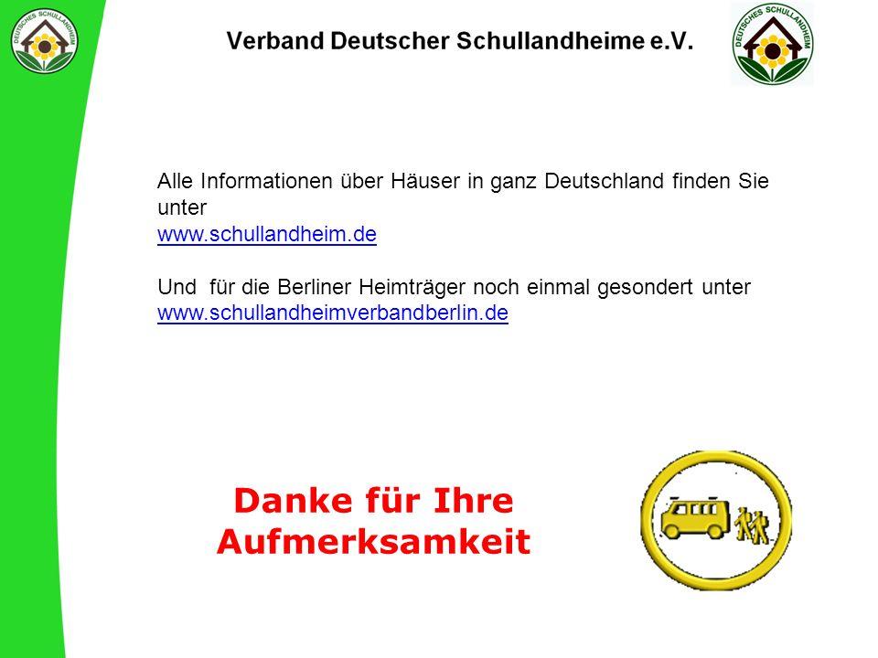 Danke für Ihre Aufmerksamkeit Alle Informationen über Häuser in ganz Deutschland finden Sie unter www.schullandheim.de Und für die Berliner Heimträger noch einmal gesondert unter www.schullandheimverbandberlin.de