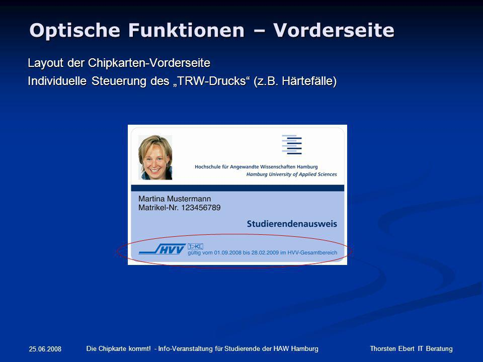 Optische Funktionen – Vorderseite Layout der Chipkarten-Vorderseite Individuelle Steuerung des TRW-Drucks (z.B. Härtefälle) Die Chipkarte kommt! - Inf