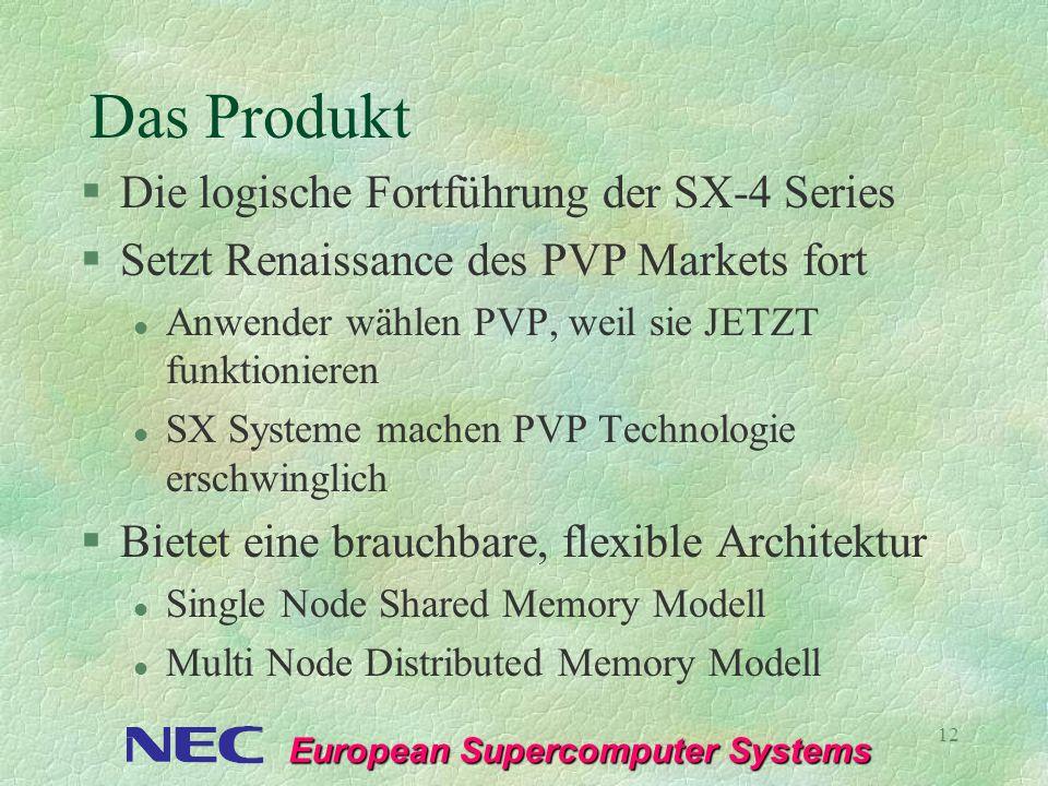 European Supercomputer Systems 12 Das Produkt §Die logische Fortführung der SX-4 Series §Setzt Renaissance des PVP Markets fort l Anwender wählen PVP,