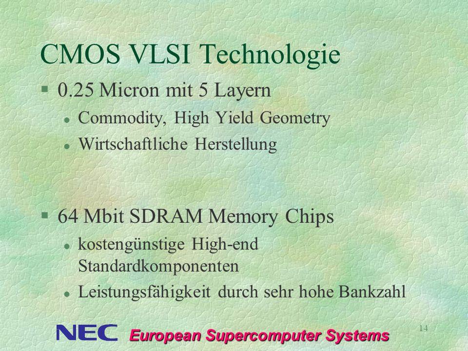 European Supercomputer Systems 14 CMOS VLSI Technologie §0.25 Micron mit 5 Layern l Commodity, High Yield Geometry l Wirtschaftliche Herstellung §64 M