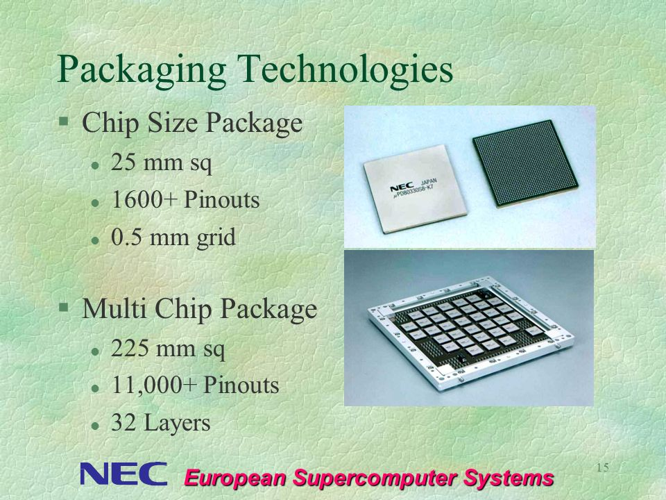 European Supercomputer Systems 15 Packaging Technologies §Chip Size Package l 25 mm sq l 1600+ Pinouts l 0.5 mm grid §Multi Chip Package l 225 mm sq l