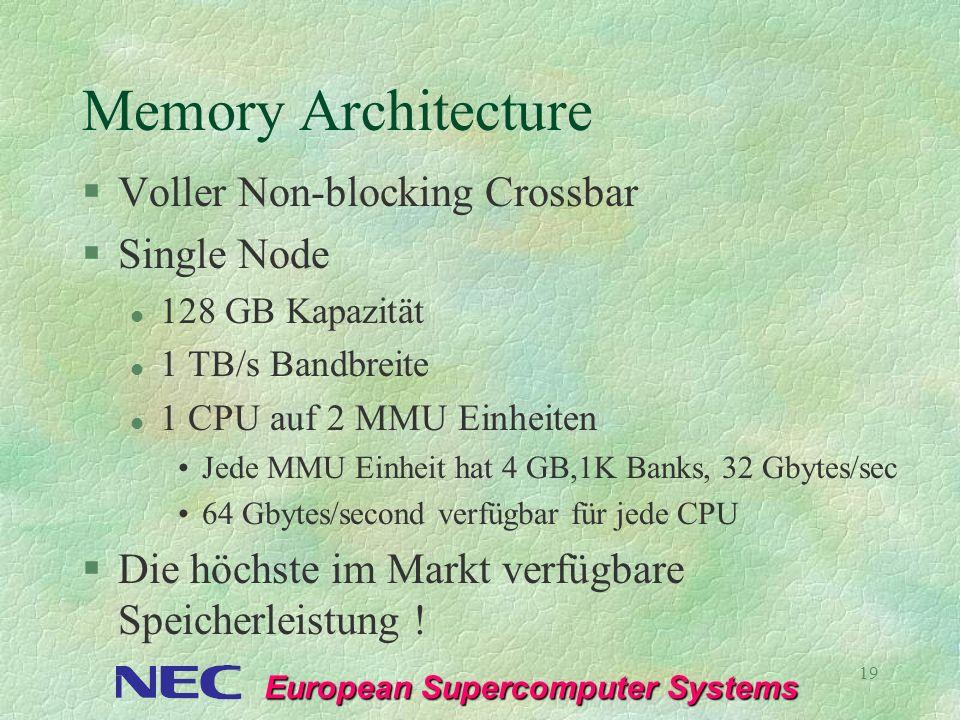 European Supercomputer Systems 19 Memory Architecture §Voller Non-blocking Crossbar §Single Node l 128 GB Kapazität l 1 TB/s Bandbreite l 1 CPU auf 2
