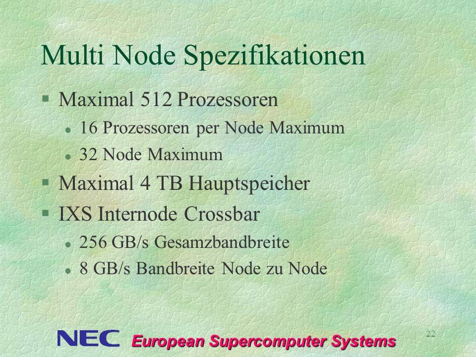 European Supercomputer Systems 22 Multi Node Spezifikationen §Maximal 512 Prozessoren l 16 Prozessoren per Node Maximum l 32 Node Maximum §Maximal 4 T