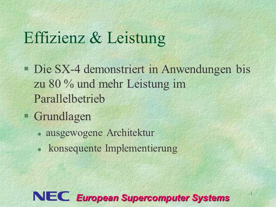 European Supercomputer Systems 4 Effizienz & Leistung §Die SX-4 demonstriert in Anwendungen bis zu 80 % und mehr Leistung im Parallelbetrieb §Grundlag