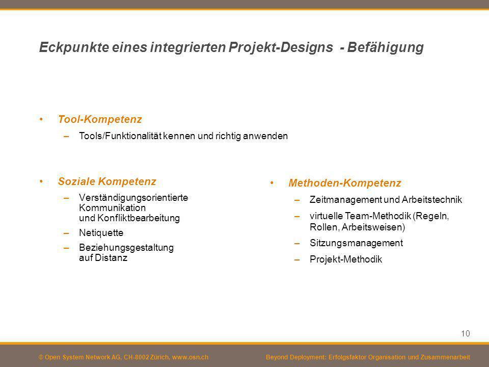 © Open System Network AG, CH-8002 Zürich, www.osn.ch Eckpunkte eines integrierten Projekt-Designs - Befähigung Soziale Kompetenz –Verständigungsorient