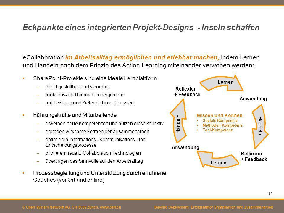 © Open System Network AG, CH-8002 Zürich, www.osn.ch 11 Beyond Deployment: Erfolgsfaktor Organisation und Zusammenarbeit Eckpunkte eines integrierten