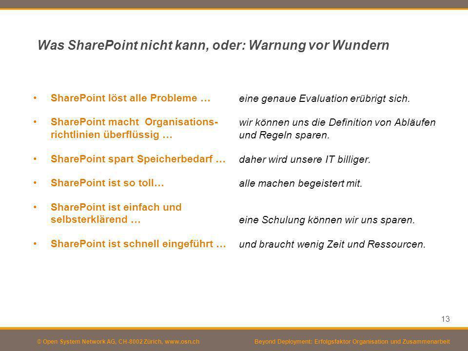 © Open System Network AG, CH-8002 Zürich, www.osn.ch Was SharePoint nicht kann, oder: Warnung vor Wundern SharePoint löst alle Probleme … SharePoint m