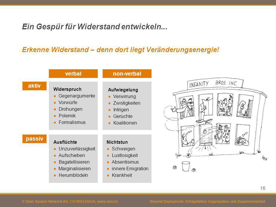 © Open System Network AG, CH-8002 Zürich, www.osn.ch Ein Gespür für Widerstand entwickeln... 16 Beyond Deployment: Erfolgsfaktor Organisation und Zusa