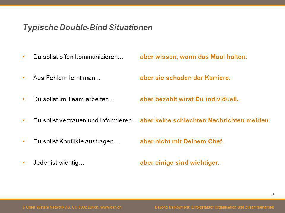 © Open System Network AG, CH-8002 Zürich, www.osn.ch Typische Double-Bind Situationen Du sollst offen kommunizieren... Aus Fehlern lernt man... Du sol