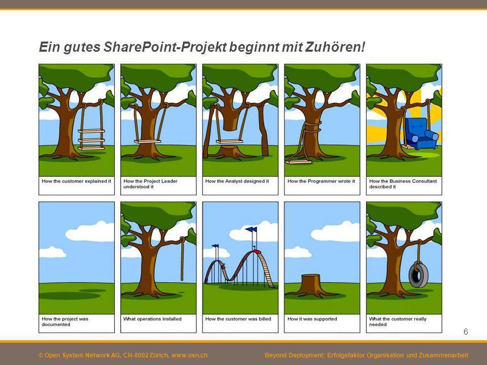 © Open System Network AG, CH-8002 Zürich, www.osn.ch Ein gutes SharePoint-Projekt beginnt mit Zuhören! 6 Beyond Deployment: Erfolgsfaktor Organisation