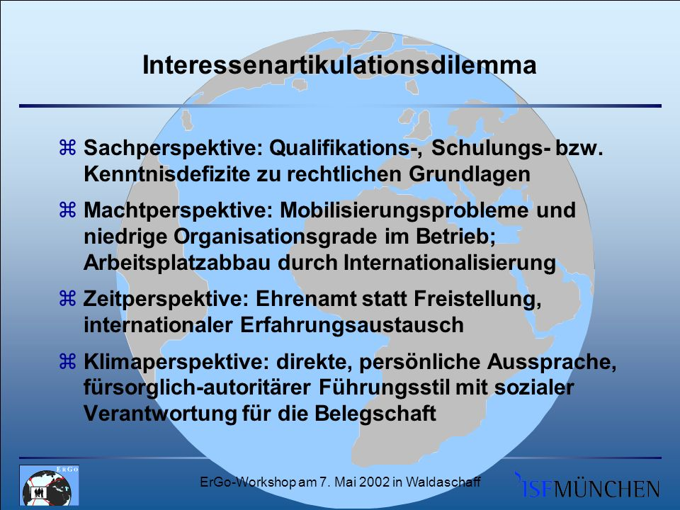 ErGo-Workshop am 7. Mai 2002 in Waldaschaff Interessenartikulationsdilemma zSachperspektive: Qualifikations-, Schulungs- bzw. Kenntnisdefizite zu rech