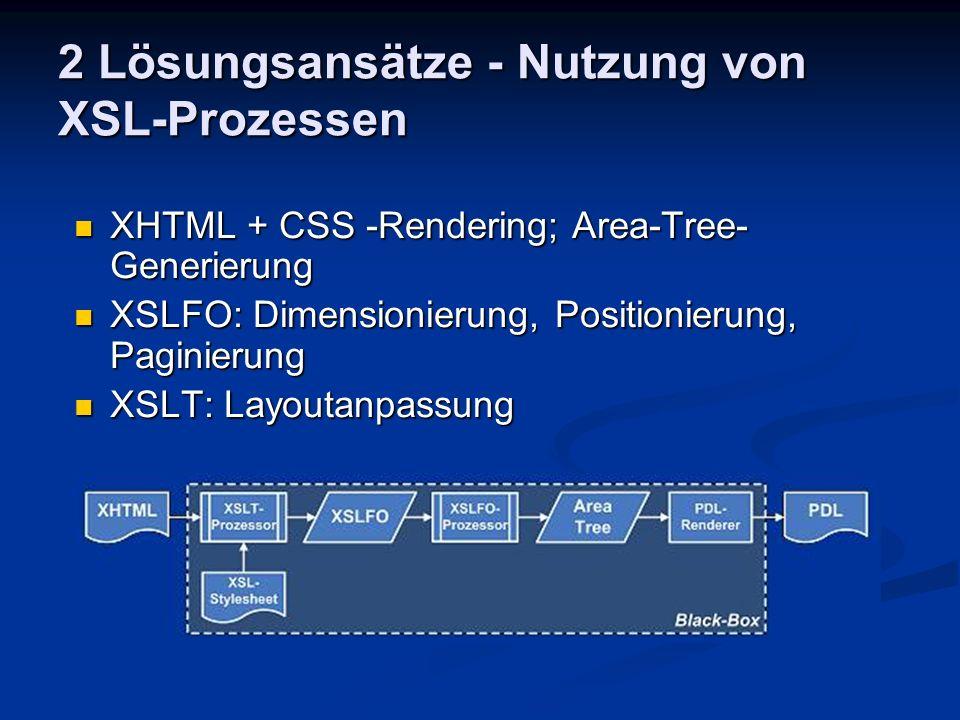 2 Lösungsansätze - Nutzung von XSL-Prozessen XHTML + CSS -Rendering; Area-Tree- Generierung XHTML + CSS -Rendering; Area-Tree- Generierung XSLFO: Dime