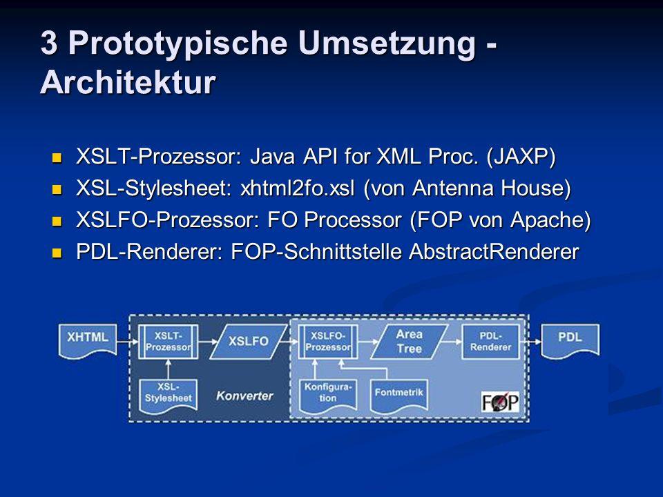 3 Prototypische Umsetzung - Architektur XSLT-Prozessor: Java API for XML Proc. (JAXP) XSLT-Prozessor: Java API for XML Proc. (JAXP) XSL-Stylesheet: xh