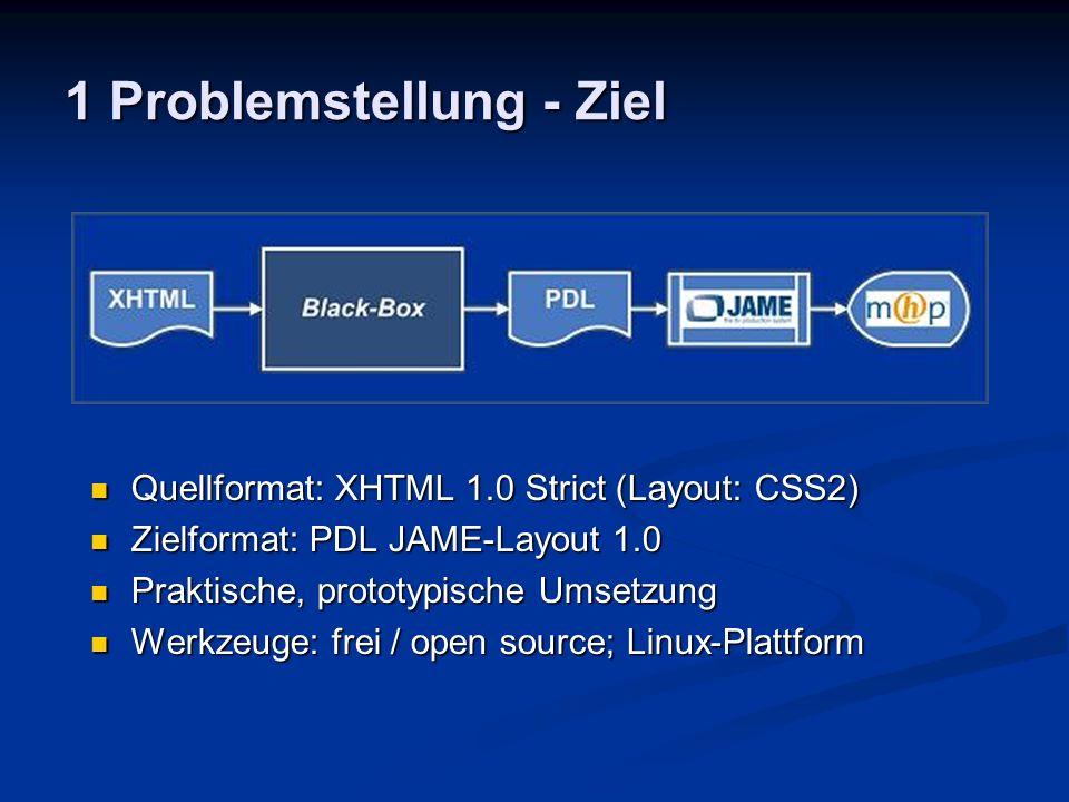1 Problemstellung - Schwierigkeit Portierung zwischen Plattformen (PC - TV) Portierung zwischen Plattformen (PC - TV) Unterschiedliche Handhabungen Unterschiedliche Handhabungen Unterschiedliche Darstellung Unterschiedliche Darstellung Portierung zwischen Beschreibungssprachen (XHTML - PDL) Portierung zwischen Beschreibungssprachen (XHTML - PDL) Unterschiedliche Beschreibungsschwerpunkte Unterschiedliche Beschreibungsschwerpunkte Unterschiedliche Beschreibungsstrukturen Unterschiedliche Beschreibungsstrukturen Beschreibung vor/nach Geometrie-Generierung Beschreibung vor/nach Geometrie-Generierung