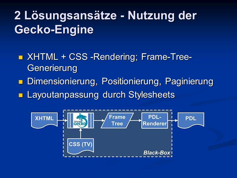 2 Lösungsansätze - Nutzung der Gecko-Engine Alternative Nutzung der Gecko-Engine: Nutzung der Gecko-Debug-Ausgaben Nutzung der Gecko-Debug-Ausgaben Nutzung der PostScript-Schnittstelle Nutzung der PostScript-Schnittstelle