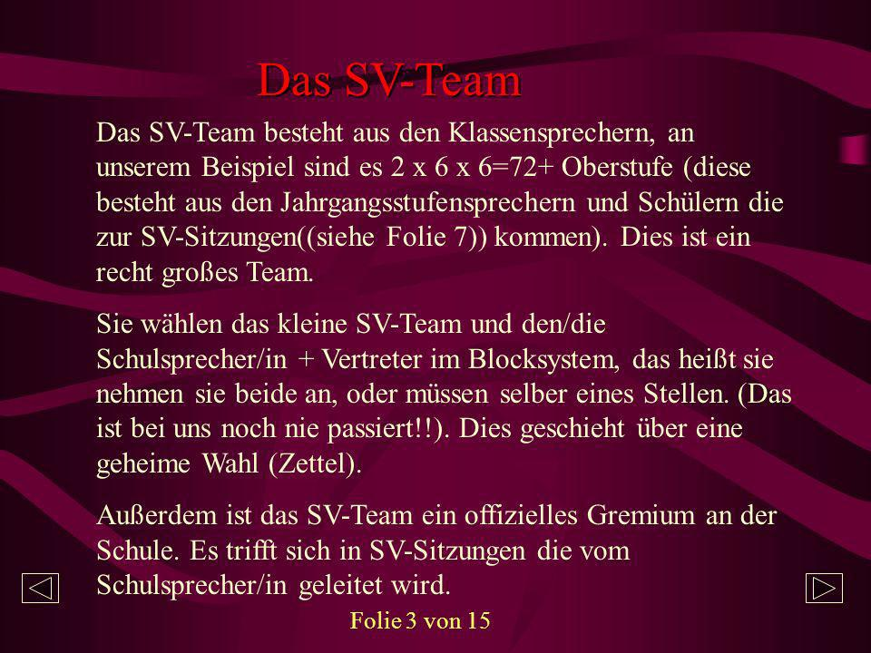 Das kleine SV- Team Das kleine SV-Team besteht aus gewählten Mitgliedern (siehe Folie 3) und dem/der Schulsprecher/in (bei uns sind es zur Zeit 13 Mitgliedern).