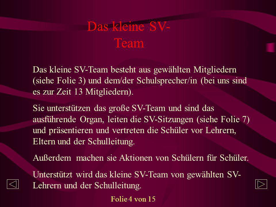 Das kleine SV- Team Das kleine SV-Team besteht aus gewählten Mitgliedern (siehe Folie 3) und dem/der Schulsprecher/in (bei uns sind es zur Zeit 13 Mit