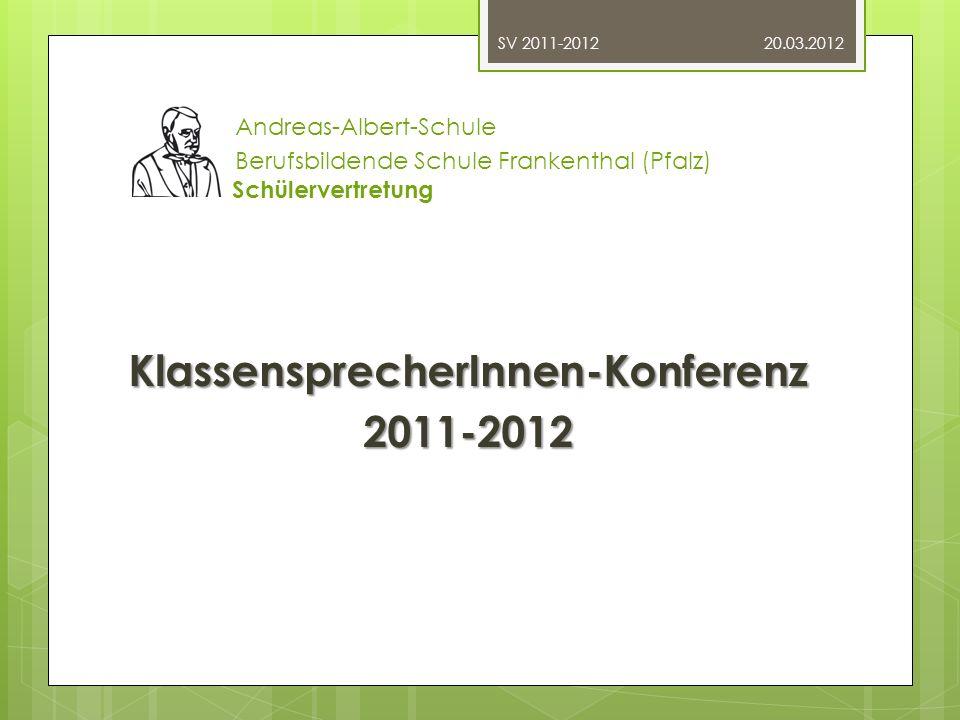 Andreas-Albert-Schule Berufsbildende Schule Frankenthal (Pfalz) Schülervertretung Konferenz- Tagesordnung: 1.Begrüßung 2.Bisherige Projekte 3.Aktuelle Projekte 4.Ausblick auf zukünftige Projekte 5.Mitmischen.