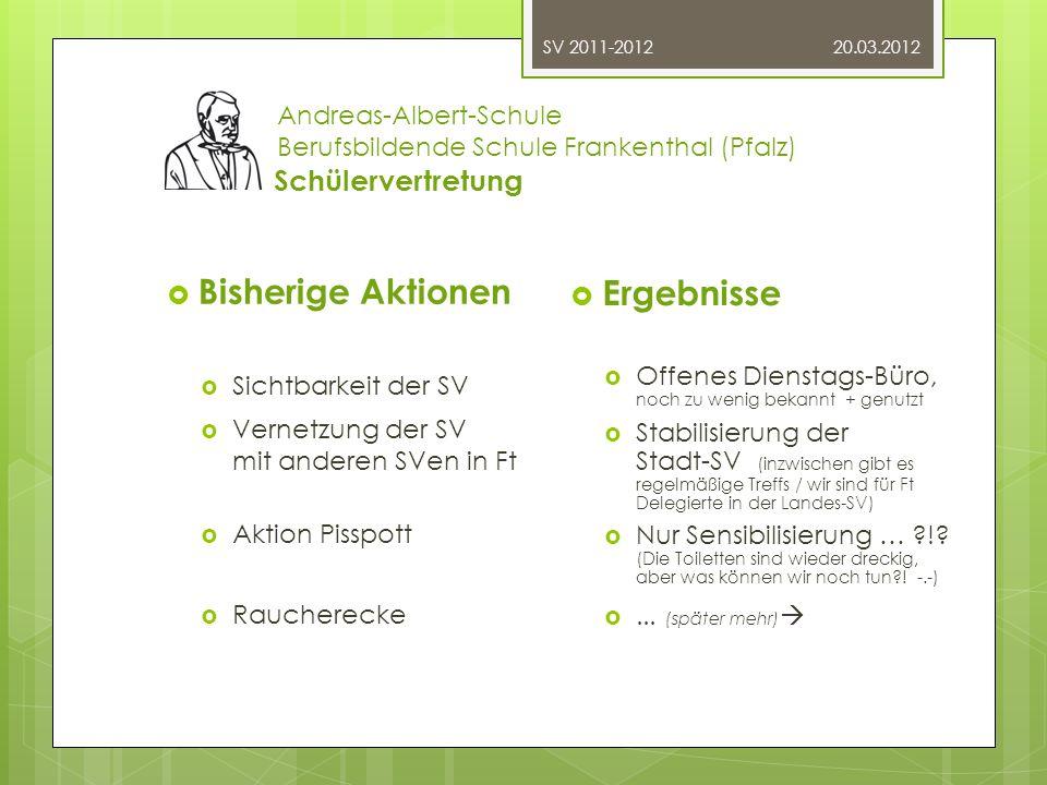 20.03.2012SV 2011-2012 Andreas-Albert-Schule Berufsbildende Schule Frankenthal (Pfalz) Schülervertretung Unser Arbeitsstil Ein Beispiel: Die Sitzung vom 05.03.2012 1.Tagesordnung (Absprache) 2.Begrüßung neues Mitglied 3.Raucherumfrage (Info, was nun?) 4.Projekt Pisspott (Aktueller Stand) 5.Stadt-SV (Info, To-Do …) 6.SV-Tag in Lu (Info, Vorbereitung) 7.SV + Schul-Website (Info, Ideen sammeln) 8.Homepage der SV (aktuelle Info) 9.Klassensprecherkonferenz (vorbereiten) 10.Nächstes Treffen
