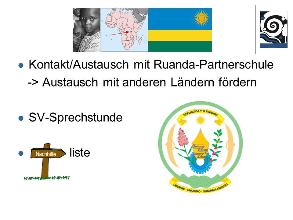 Kontakt/Austausch mit Ruanda-Partnerschule -> Austausch mit anderen Ländern fördern SV-Sprechstunde liste