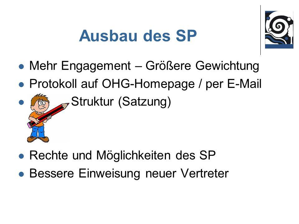 Ausbau des SP Mehr Engagement – Größere Gewichtung Protokoll auf OHG-Homepage / per E-Mail Struktur (Satzung) Rechte und Möglichkeiten des SP Bessere