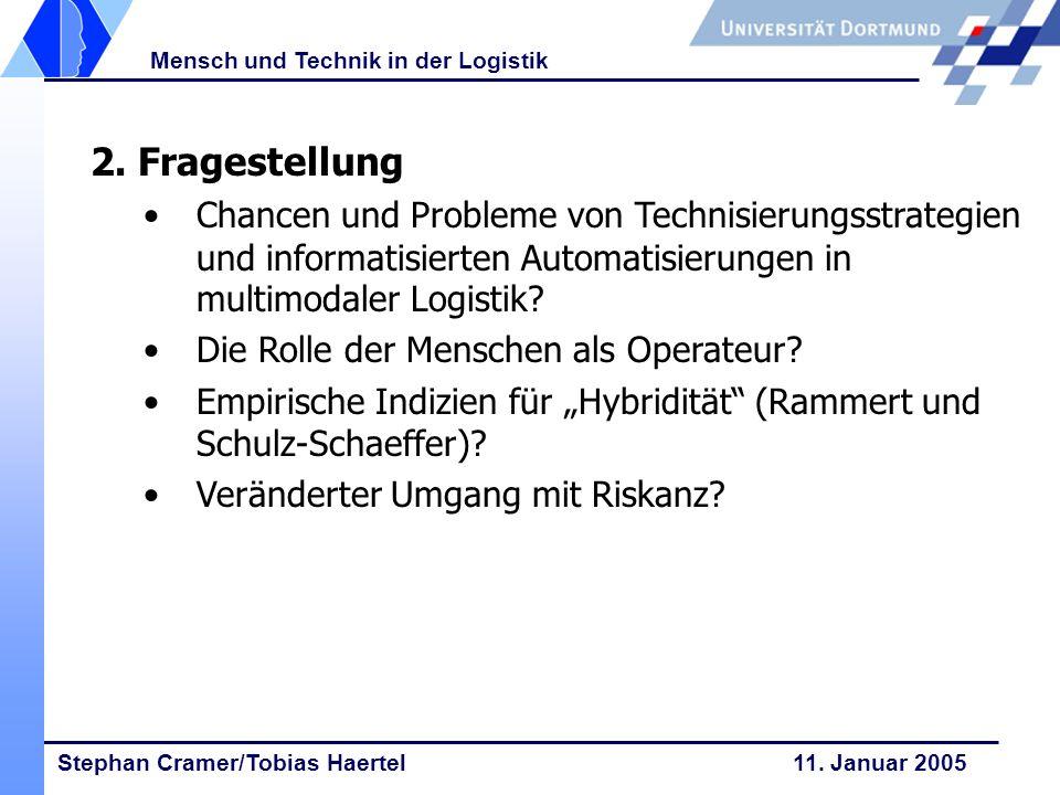 Stephan Cramer/Tobias Haertel 11. Januar 2005 Mensch und Technik in der Logistik 2. Fragestellung Chancen und Probleme von Technisierungsstrategien un