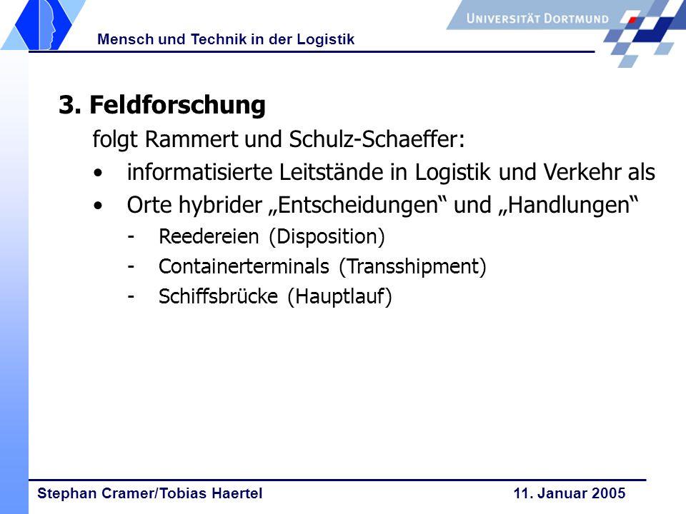 Stephan Cramer/Tobias Haertel 11. Januar 2005 Mensch und Technik in der Logistik 3. Feldforschung folgt Rammert und Schulz-Schaeffer: informatisierte