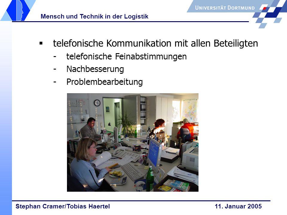 Stephan Cramer/Tobias Haertel 11. Januar 2005 Mensch und Technik in der Logistik telefonische Kommunikation mit allen Beteiligten -telefonische Feinab
