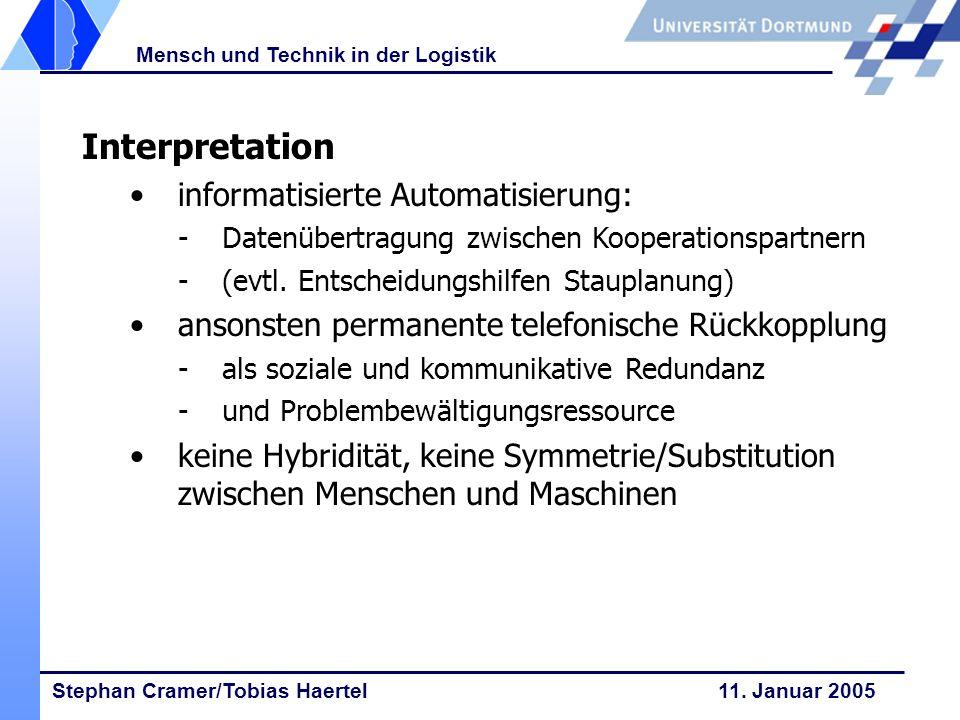 Stephan Cramer/Tobias Haertel 11. Januar 2005 Mensch und Technik in der Logistik Interpretation informatisierte Automatisierung: -Datenübertragung zwi