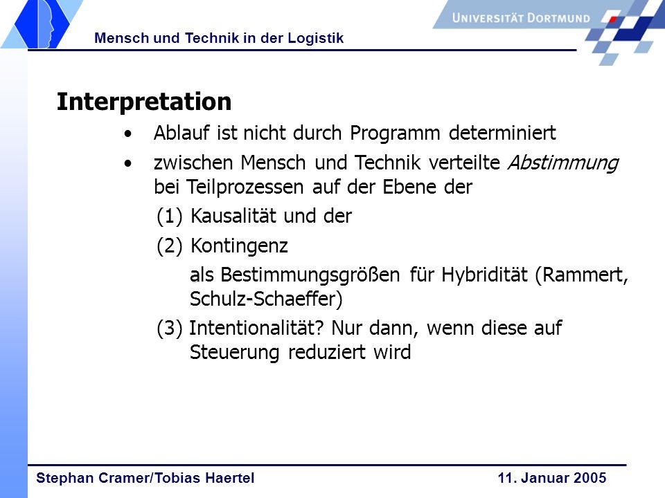 Stephan Cramer/Tobias Haertel 11. Januar 2005 Mensch und Technik in der Logistik Interpretation Ablauf ist nicht durch Programm determiniert zwischen