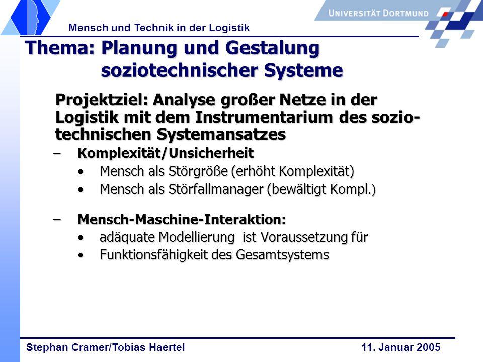 Stephan Cramer/Tobias Haertel 11. Januar 2005 Mensch und Technik in der Logistik Thema: Planung und Gestalung soziotechnischer Systeme Projektziel: An