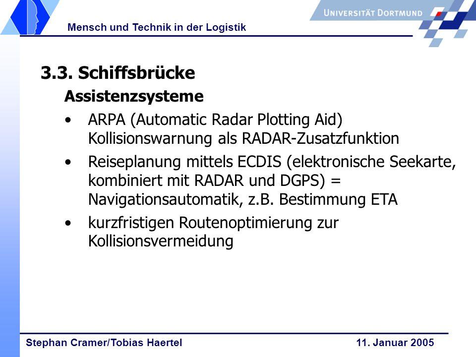 Stephan Cramer/Tobias Haertel 11. Januar 2005 Mensch und Technik in der Logistik 3.3. Schiffsbrücke Assistenzsysteme ARPA (Automatic Radar Plotting Ai