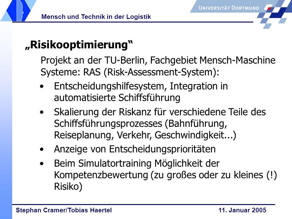Stephan Cramer/Tobias Haertel 11. Januar 2005 Mensch und Technik in der Logistik Risikooptimierung Projekt an der TU-Berlin, Fachgebiet Mensch-Maschin
