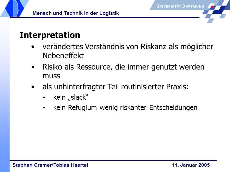 Stephan Cramer/Tobias Haertel 11. Januar 2005 Mensch und Technik in der Logistik Interpretation verändertes Verständnis von Riskanz als möglicher Nebe