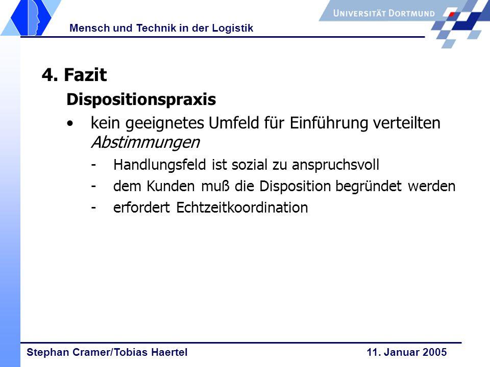 Stephan Cramer/Tobias Haertel 11. Januar 2005 Mensch und Technik in der Logistik 4. Fazit Dispositionspraxis kein geeignetes Umfeld für Einführung ver