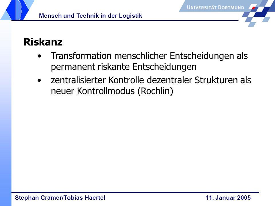 Stephan Cramer/Tobias Haertel 11. Januar 2005 Mensch und Technik in der Logistik Riskanz Transformation menschlicher Entscheidungen als permanent risk